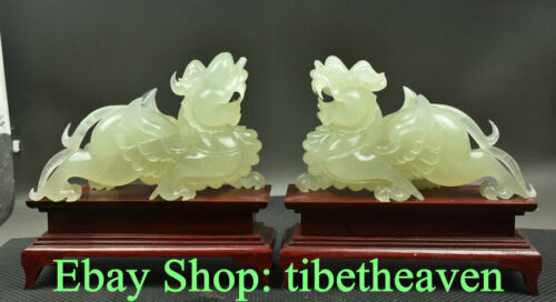 "10.8"" China Xiu Jade Hand Carved Feng Shui Fly Pixiu Beast Luck Sculpture Pair"