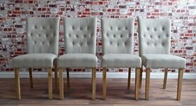 Chesterfield Upholstered Dining Chairs with Oak Legs - All Quantities Available!