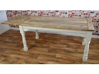 Extending Rustic Farmhouse Kitchen Dining Table Painted in Farrow & Ball - Seats up to 12 People