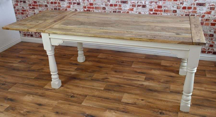 Extending Rustic Farmhouse Kitchen Dining Table Painted in