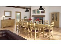 The Massive 10ft Grand Chateau Double Extending Oak Dining Table with 8 chairs £999 LAST ONE