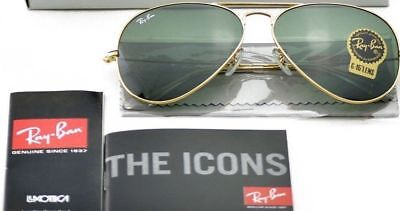 Ray Ban Aviator RB3025 L0205 58mm Green Classic G-15/Gold frame AUTHENTIC (Ray Ban Aviator 58mm Polarized)
