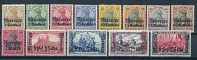 DP Marokko Aufdruckserie 1905** Michel 21-33 Hauptwerte Attest (S12437)