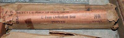 Nos Atf 12pt Cheltenham Bold Points Original Wraps. Letterpress Type
