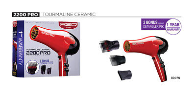 Red by Kiss - 2200 Tourmaline Ceramic Hair Blow Dryer with 3