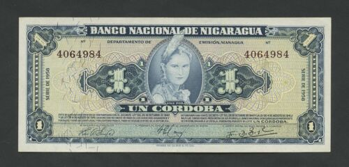 NICARAGUA  1 cordoba  1958  P99b  About Uncirculated  World Paper Money