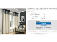 ring top fully lined curtains, silver , grey , black , cream . 66 '' x 90 '' .