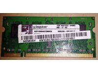 Kingston 1GB PC2-6400S DDR2 SODIMM 800MHZ 200 PIN RAM 1Rx8
