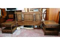 Oak Double Headboard With attached bedside tables