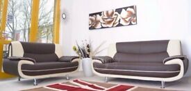 BRANDED FURNITURE - AVAILABLE IN 4 DIFFERENT COLORS CAROL 3+2 LEATHER SOFA-BLACK RED WHITE & BROWN