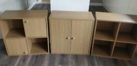 Wooden cube storage units. Shelves, wardrobe and cupboards