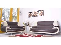 CHEAP PRICES BRAND NEW 3 AND 2 SEATER CAROL LEATHER SOFA IN BLACK ( WHITE , RED & GREY ) COLORS