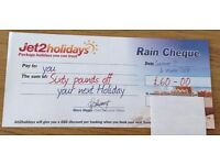 Jet 2 Rain Cheque voucher for £60 discount off Jet2 holidays bookings