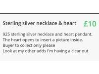 925 sterling silver necklace and heart pendant