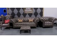 New Chesterfield 3 Seater Sofa Club Chair Queen Anne Wing Back Chair Grey Leather - UK Delivery