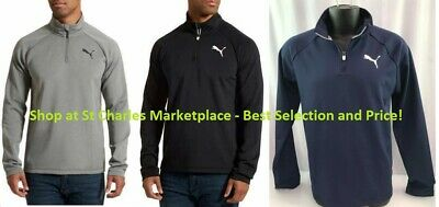 PUMA LOGO Men's Active 1/4 Zip Pullover Long Sleeve Stretch, Pick Color & Size