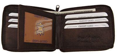 Genuine Leather Men's Zipper Zip-Around Organizer Bifold Wallet Brown AG Wallets