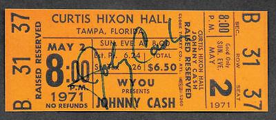 Johnny Cash Autograph & Concert Ticket Reprint On Genuine 1970s Card *9007