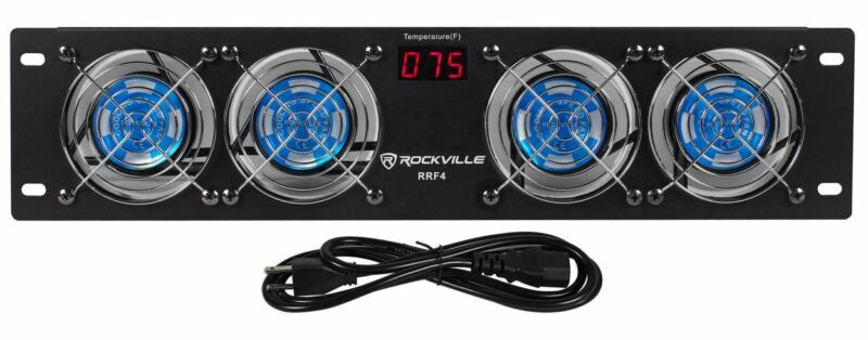 """Rockville RRF4 19"""" Rack Mount 4 Fan Cooling System with LED Temperature Display"""