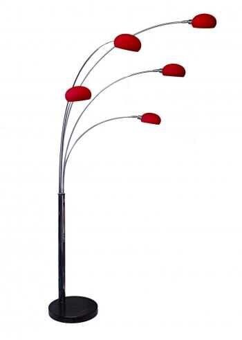 Arc 5 five multi arm lounge floor lamp glass shades red for 5 arm floor lamp purple
