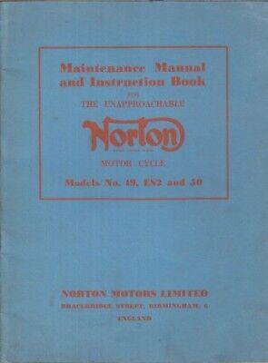 NORTON MODEL 19 ES2 & 50 ORIG.1958 FACTORY MAINTENANCE MANUAL & INSTRUCTION BOOK
