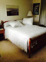 Double Wooden Bed Frame, Mattress & Box Spring/ chest of drawers
