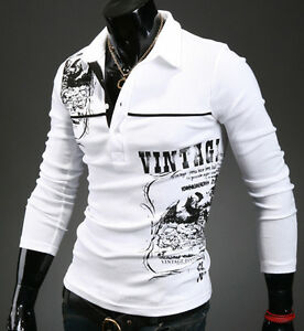 NEW Mens Premium Design Fashion Casual logo Printing Polo Collar T-Shirts