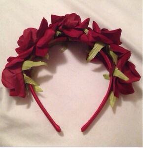Realistic Red Rose Flower Crown