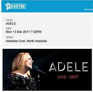 Adele Concert Tickets! Adelaide Mar 13, Great seats - 4 Available Adelaide CBD Adelaide City Preview