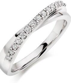Diamond eternity ladies ring 18ct White gold