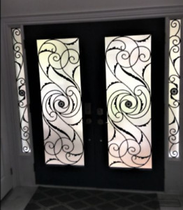 GLASS Inserts for Exterior doors wrought iron and stained glass