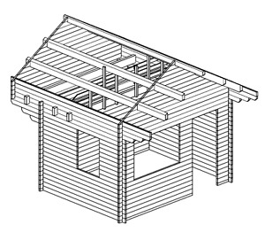 257 sq/ft Log Loft Bunkie / Cabin Shed Kit    NO PERMIT NEEDED