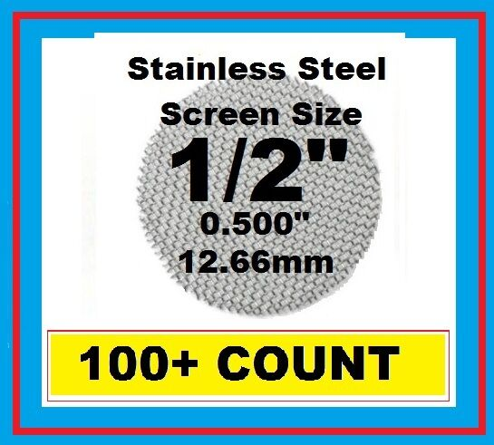 """100+ Stainless Steel PIPE SCREENS .500"""" (1/2"""") 12.7mm HIGHEST QUALITY USA MADE!!"""