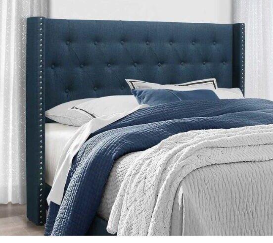 Queen Bed Frame Complete Set Rails Upholstered Headboard Bedroom Furniture Blue 1