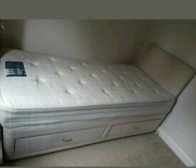 Silent night single divan bed with headboard