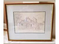 Orginal Print ( in Frame ) of St Mary Magdalene Church in Bath