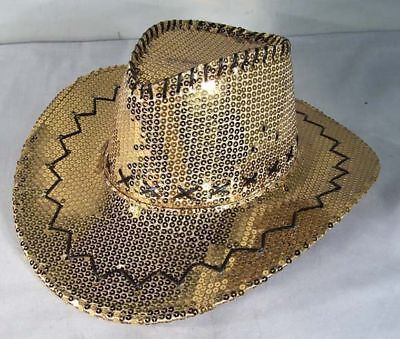 SEQUIN GOLD COWBOY HAT party supply hats dance supplies cowgirl headwear - Gold Party Hats