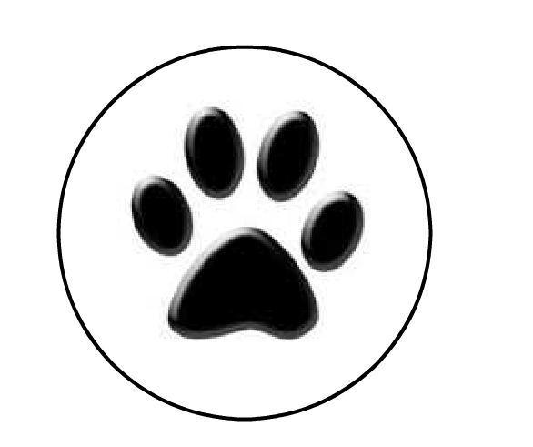 "Black Paw Print Personalized 1"" Round Envelope Seals Labels"