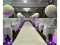 Wedding decorations, venue decorator, wedding stage, chair cover hire, centrepieces, flower wall