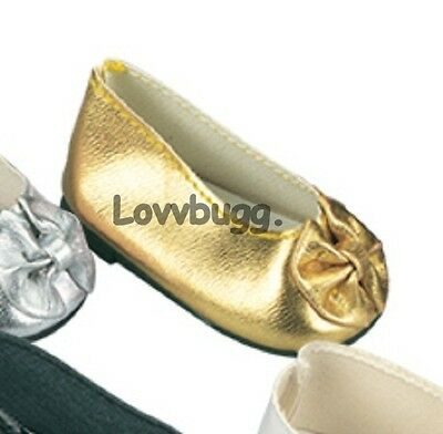 "Lovvbugg Gold Bow Ballet Flats for 18"" American Girl or Bitty Baby Doll Shoes"
