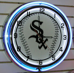 MLB Chicago White Sox Double Ring Large 18 Neon Clock