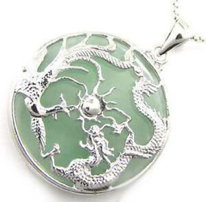 Silver Dragon Phoenix Natural Jade Pendant and Necklace Jewelry