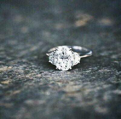 1.30 Ct Oval Cut Diamond Engagement Ring 3-Stone w/ Half Moon F,VS2 GIA 14K WG  1