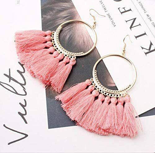 Tassel earrings, fashion creative European and American jewelry big circle PINK Earrings