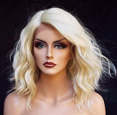 Short Blonde Bob (Short Bob Blonde Lace Front Wig Wavy Synthetic Heat Safe Wigs for Woman US)