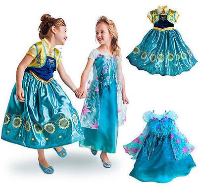 stüm Elsa Anna Kostüm Blau Halloween Weihnachtsfeier (Königin Elsa Halloween-kostüm)