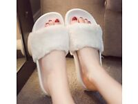 Womens Lady Slipper Slip On Sliders Fluffy Fur Slippers Flip Flop Sandals