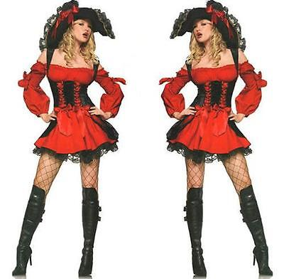 Sexy Adult Red Vixen Pirate Wench Queen Halloween Costume Fancy Dress S/P S/XS - Vixen Pirate Halloween Costume