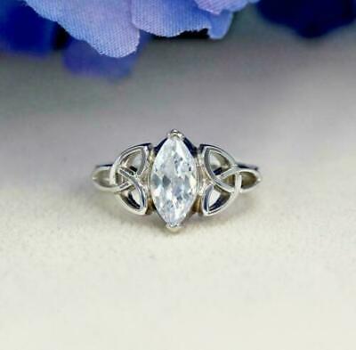 1.50 Ct Marquise Diamond Wedding Ring Trinity Knot Celtic 14K White Gold...