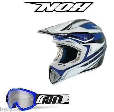 Cross Helmet Motorcycle Nox Charger Blue Enduro Quad Dirt Goggles